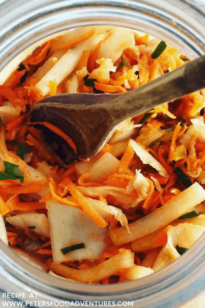 Homemade Kimchi will boost your immune system! Koreans have eaten Kimchee for over a thousand years. Raw and naturally fermented cabbage, full of natural probiotics and vitamins. Raw Fermented Kimchi Recipe