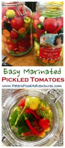 Herb Marinated Tomatoes bursting with flavor, this tomato and vegetable mix is delicious. Quick pickled with cilantro, basil and dill, I could drink the tomato sauce! Reminds me of a tomato Giardiniera - Marinated Tomatoes (маринованный помидоры)