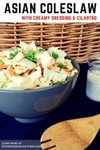Try this delicious Easy Creamy Asian Coleslaw with Cilantro with quick homemade dressing. No ramen, no sesame, soy or mandarins. Coleslaw doesn't have to be boring!