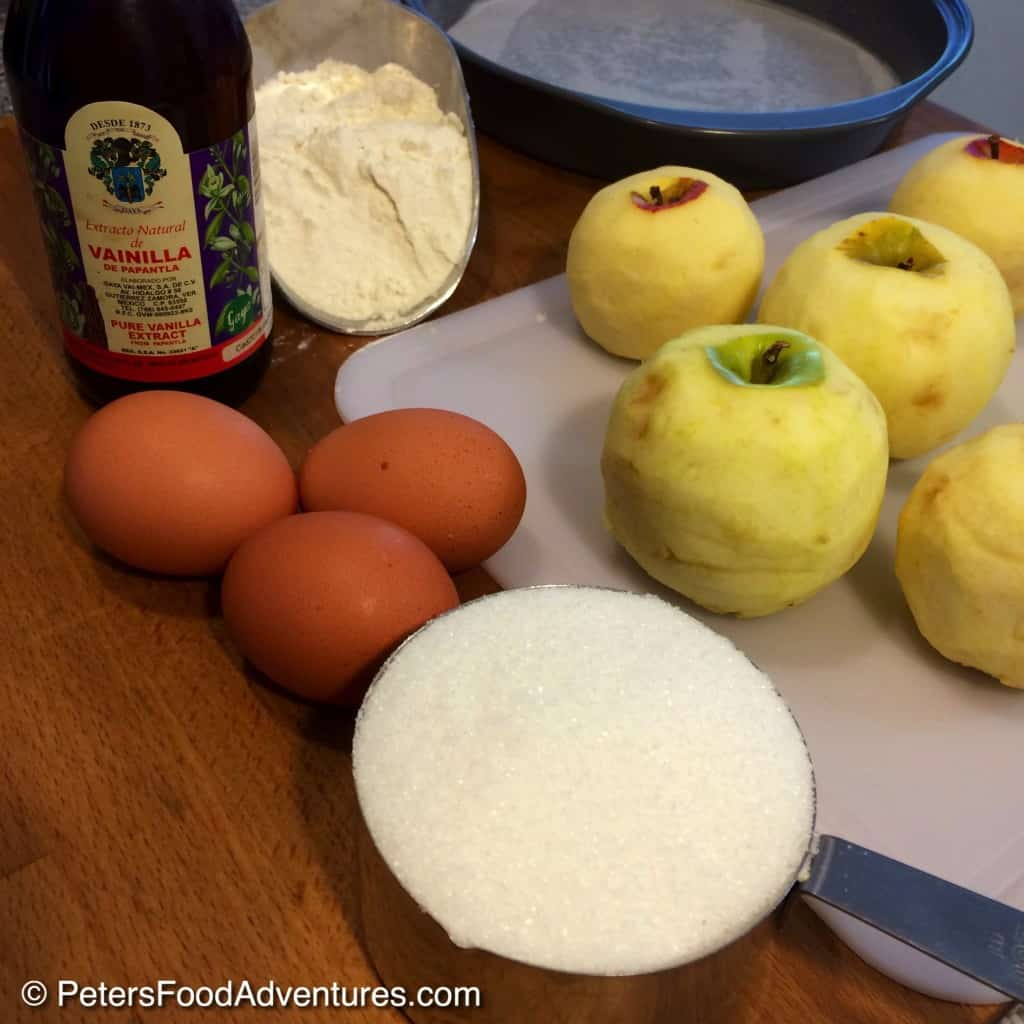 apple cake ingredients on a table