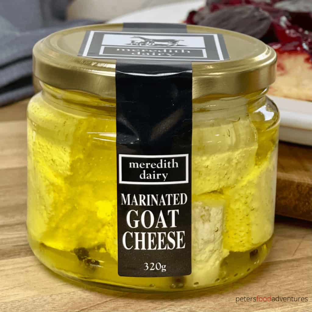 marinated goat's cheese in a glass jar