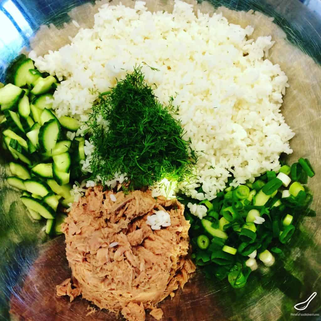 Mixing ingredients into Rice Salad