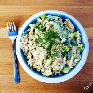 Russian salads aren't leafy, they're hearty! This creamy Tuna Rice Salad recipe is perfect as a side salad, or even on a piece of rye bread! Tuna, rice, cucumbers, green onions and lots of of mayo!