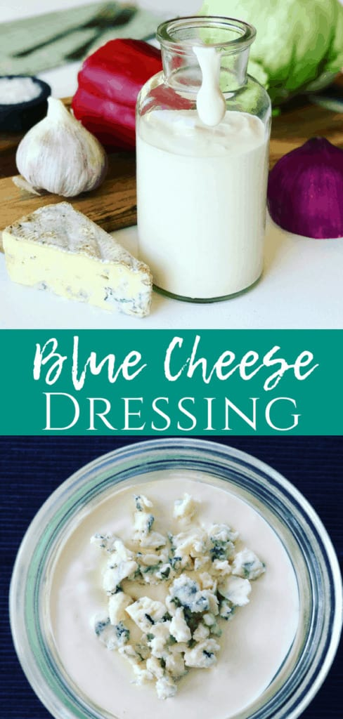 Blue Cheese Dressing pinterest pin, in a glass jar with blue cheese crumbled on top