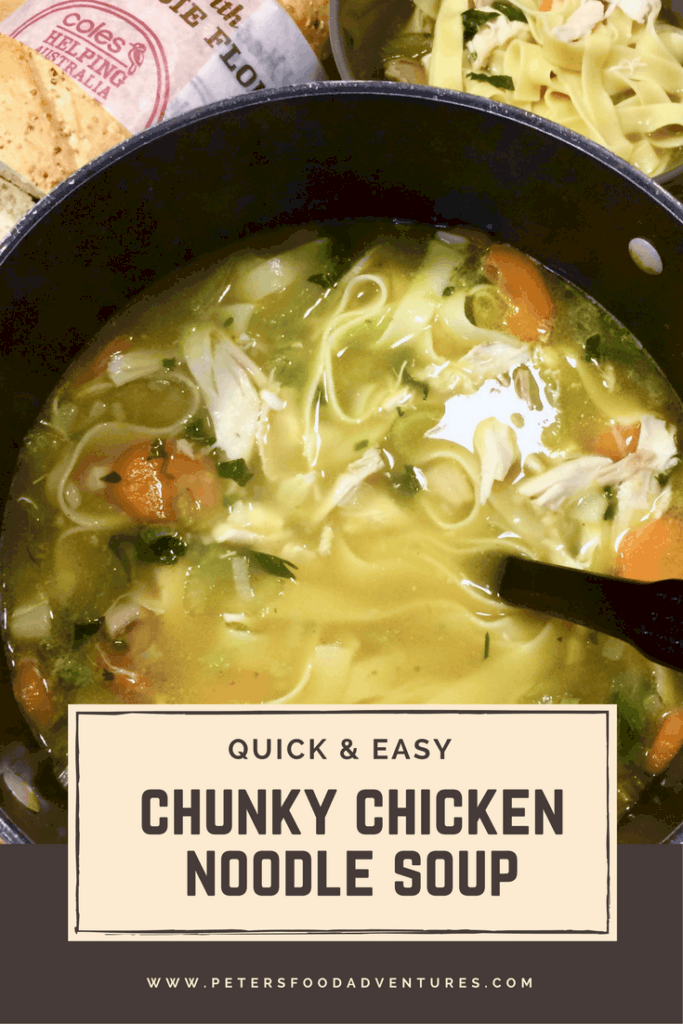 a chunky chicken noodle soup in a pot