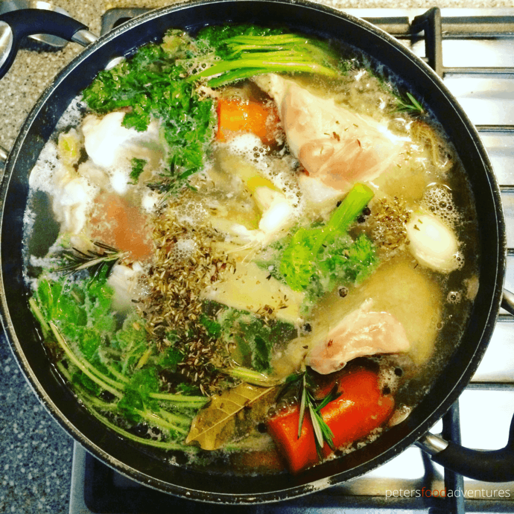 homemade chicken soup broth