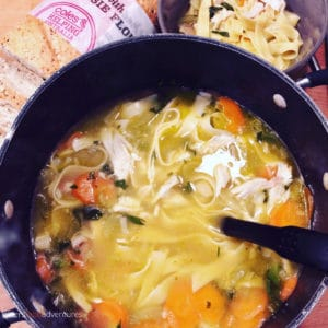 An easy chicken noodle soup, made with a rotisserie chicken. Meaty and nutritious for your whole family. An easy comfort food for an easy weeknight dinner.