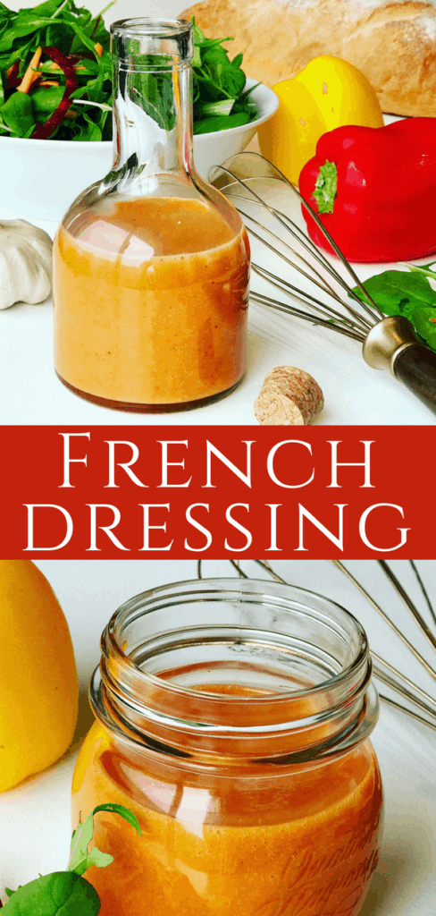 Homemade French Salad Dressing made in 2 easy steps. Made with regular pantry ingredients, preservative free. So tasty and tangy, I could almost drink it - Creamy French Dressing Recipe.