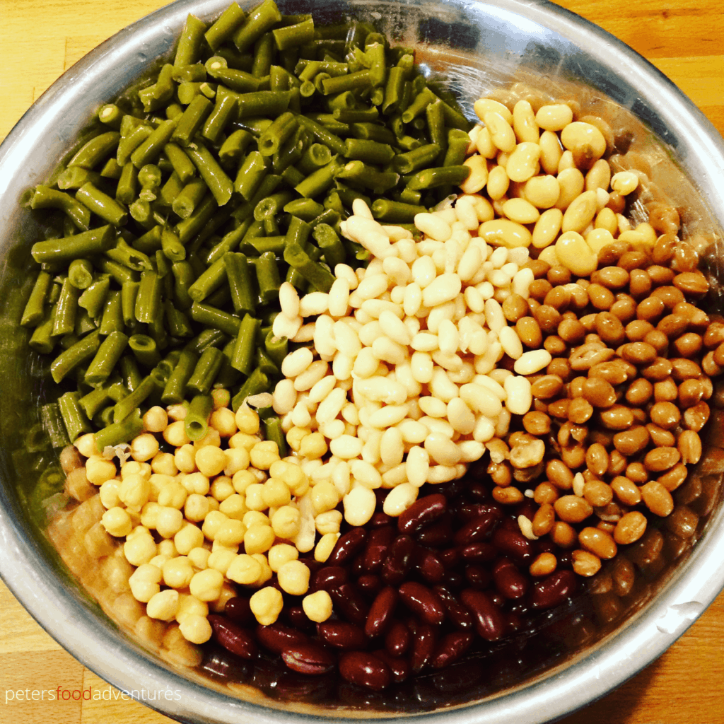 beans in a bowl for bean salad