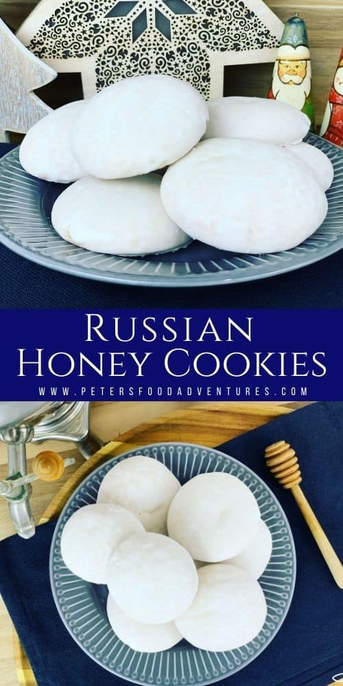 Pryaniki Honey Cookies are a traditional Russian cookies made with sour cream, butter, flour and lots of honey. Just like my babushka made - (Домашние пряники медовые)
