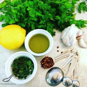 Fresh herbs, lemon, oil and garlic