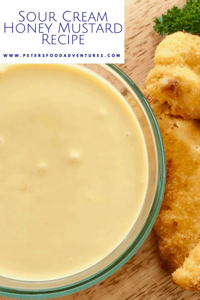 I could drink this stuff! A delicious homemade Creamy Honey Mustard Sauce Recipe with mayo, honey, mustard, sour cream, with a pinch of onion and garlic powder!