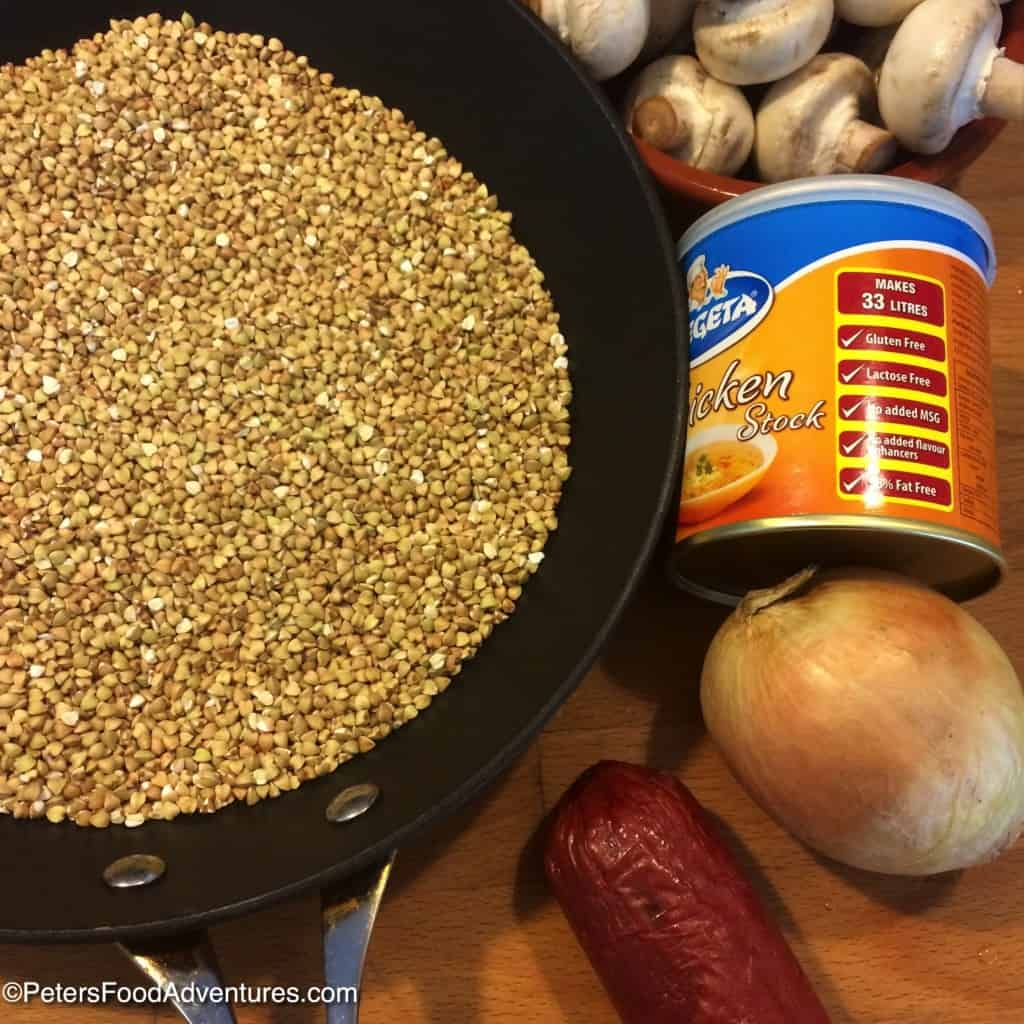 roasting buckwheat in a skillet