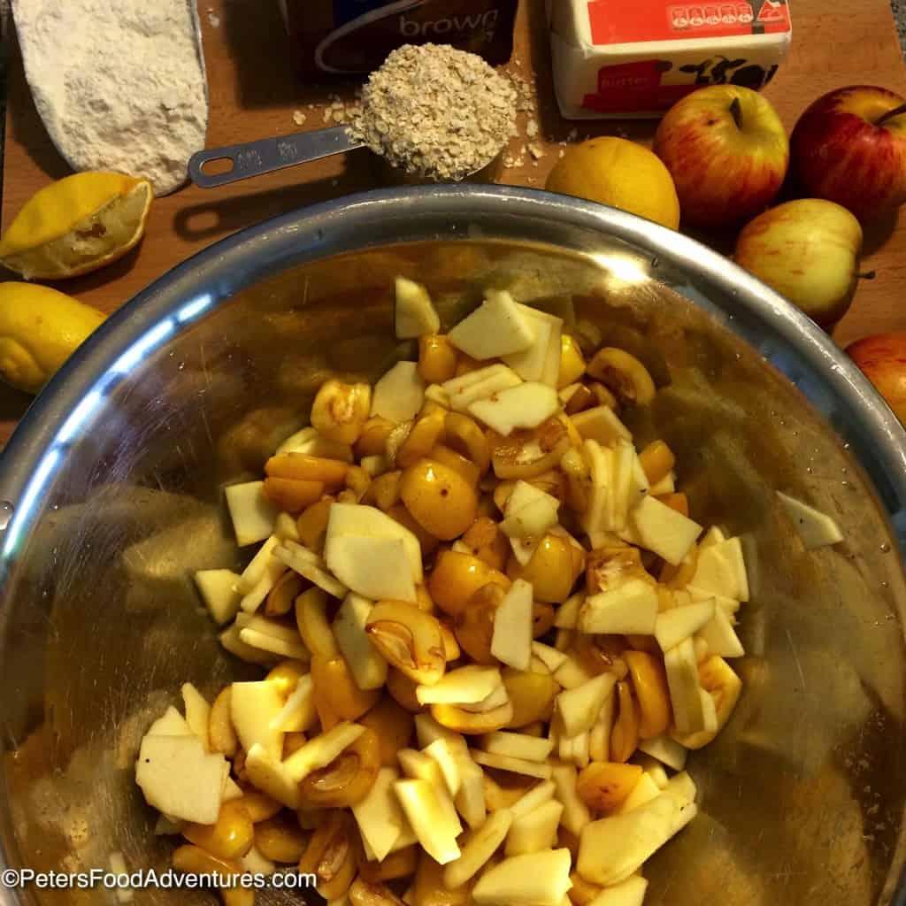 mixing loquat crumble