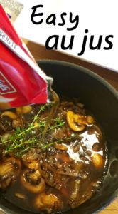 How do they make Au Jus? Here's how! A Homemade Real Au Jus Recipe with a delicious Beef Dip or French Dip Recipe with fresh mushrooms and thyme. Easier than you think. Happy Dipping! French Dip with Easy Au Jus Recipe