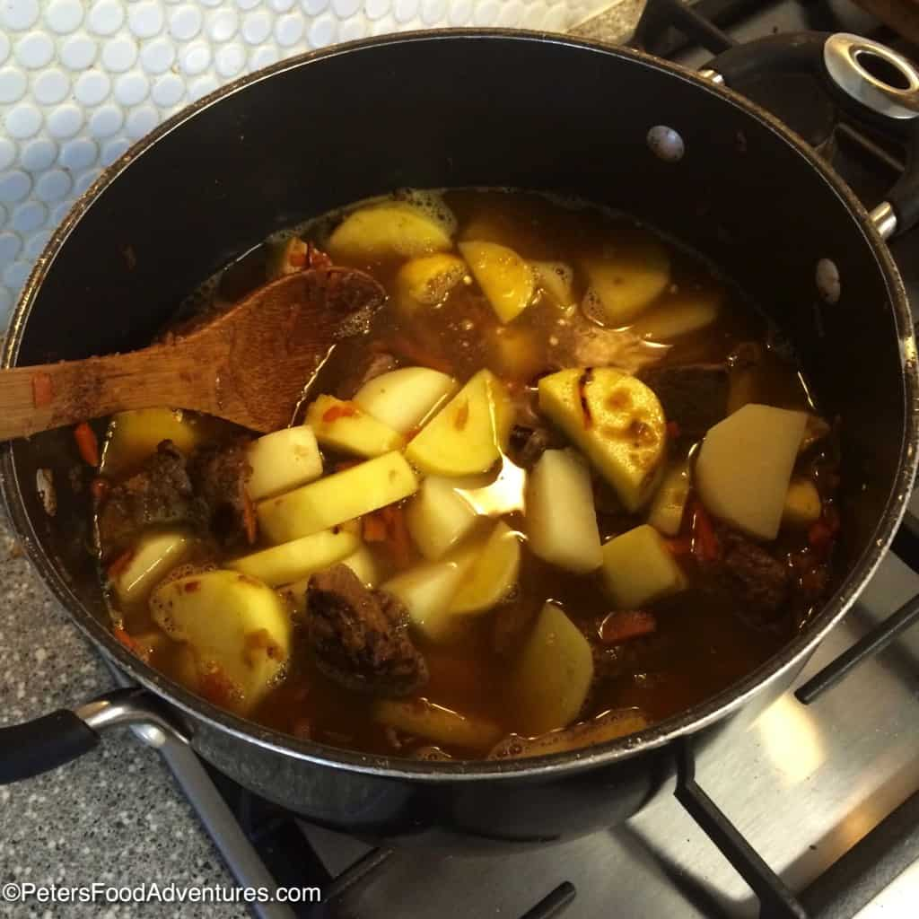 beef stew with potatoes in a pot