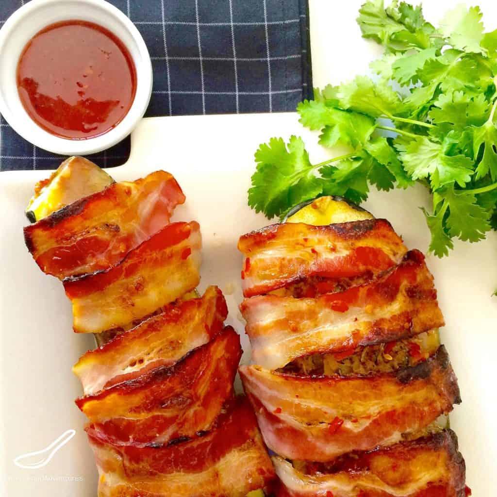 Sweet Chili & Bacon Zucchini Boats