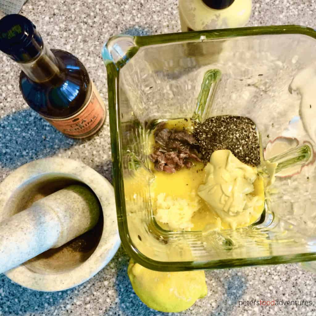 making caesar salad dressing in a blender