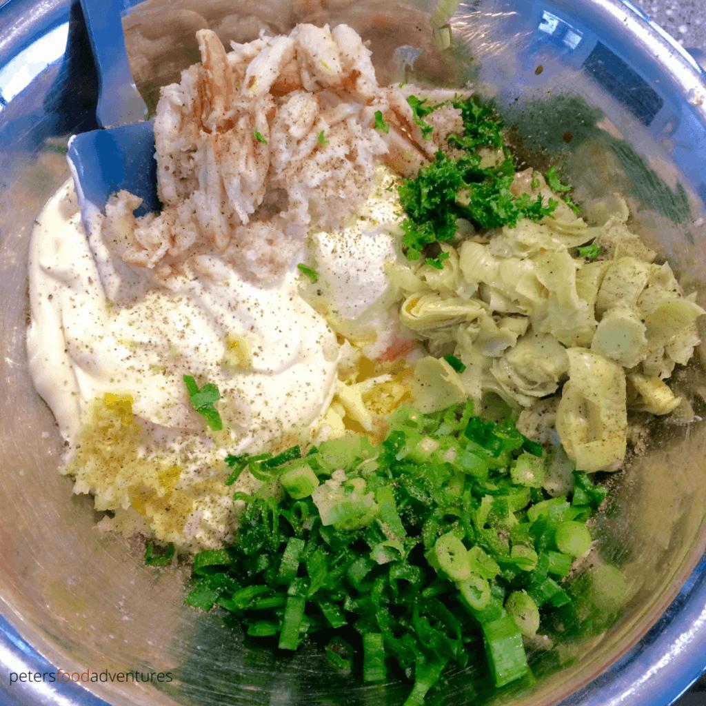 making crab artichoke dip