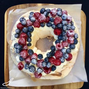 Perfect for the Christmas holidays or just to eat on a summer's day, with fresh blueberries and raspberries - Berry Pavlova Wreath