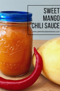 This Sweet Mango Chilli Sauce recipe is awesome as a dip for chicken strips, shrimp, Vietnamese or Thai rolls, add to a stir fry or a salad dressing.