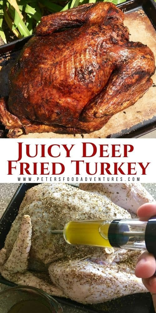 How To Deep Fry a Turkey. A faster way to make Thanksgiving Turkey. Herb butter turkey injection recipe adds flavor throughout with a tasty dry rub. A Christmas Turkey that's Crispy outside, juicy and flavorful inside. Deep Fried Turkey