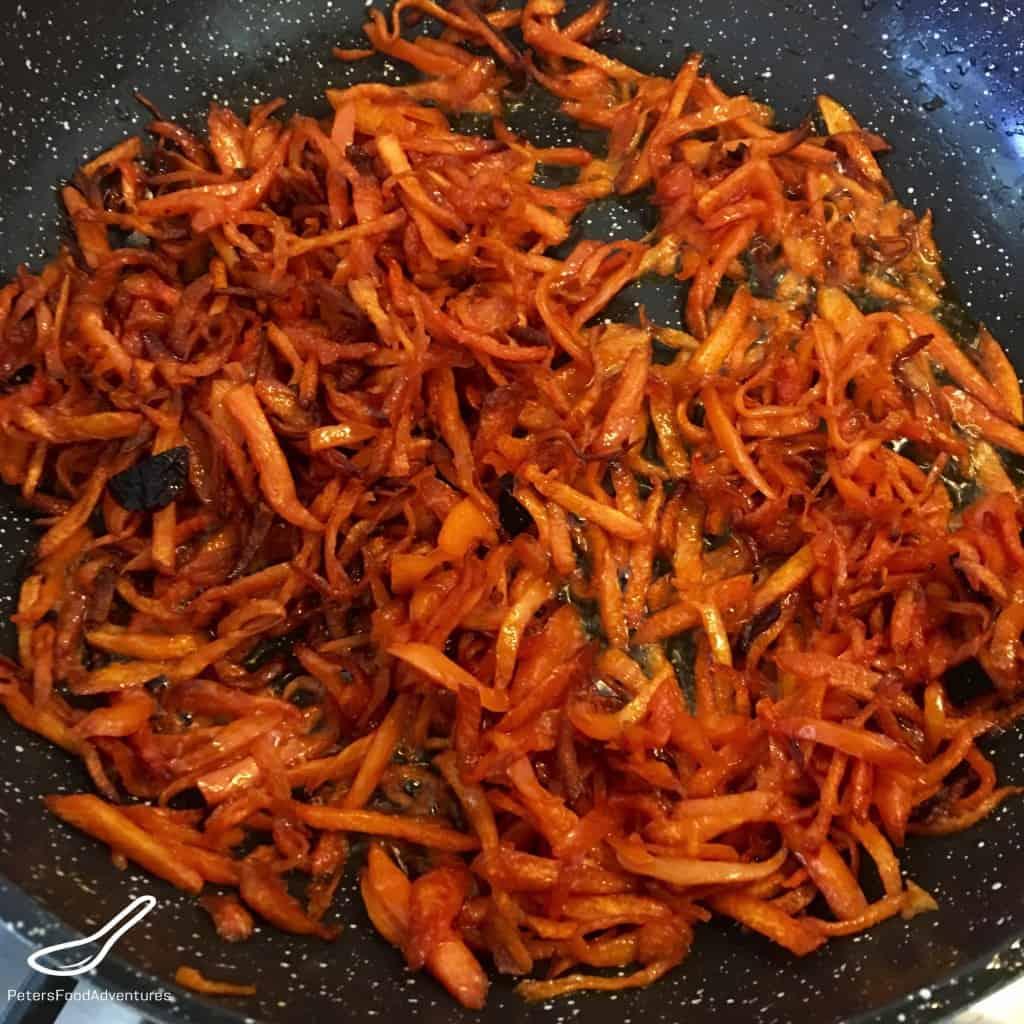 frying carrots for funchoza
