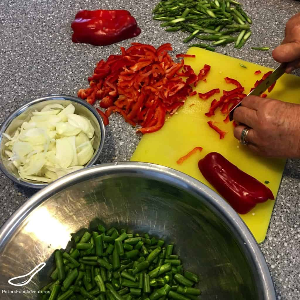 Chopping vegetables for Lagman
