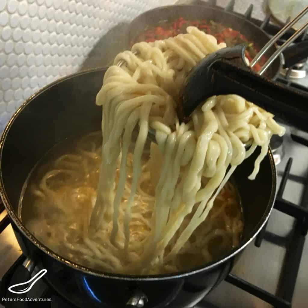 Boiling Laghman Noodles