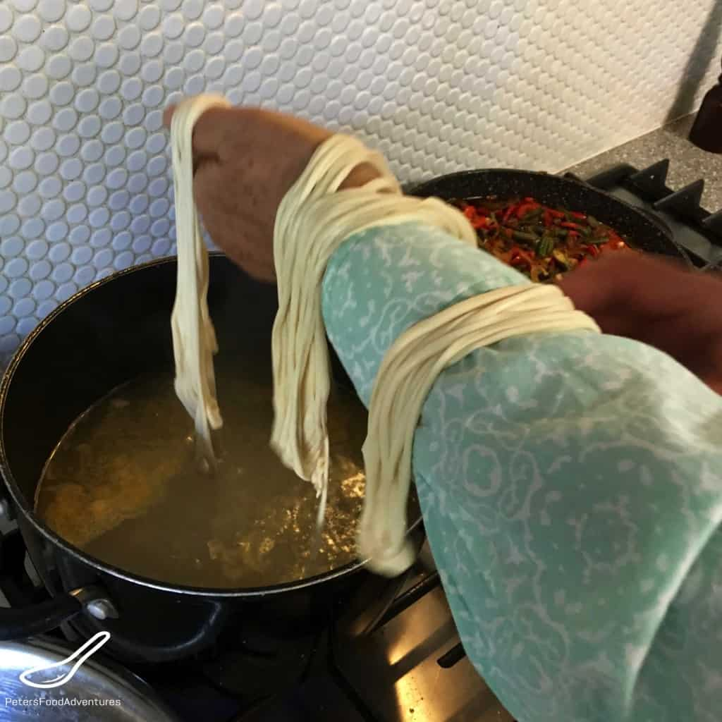 Cooking Lagman noodles