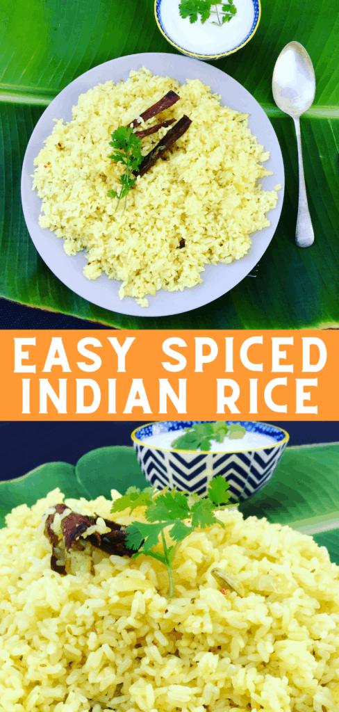 easy spiced indian rice on a banana leaf