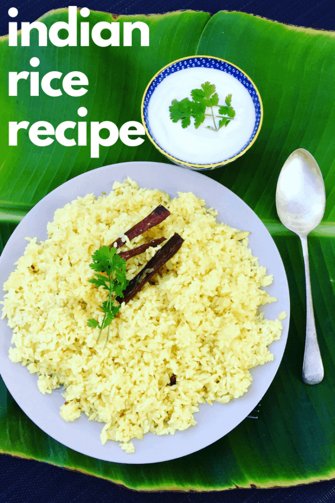 Perfectly flavored Indian Rice, delicious as a side, or enjoyed for dinner. Infused with fried onions, garlic and whole spices such as cumin seeds, cardamom and cloves - Easy Indian Rice Recipe