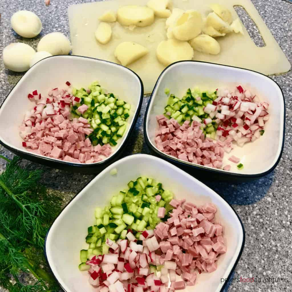 making okroshka soup bowls