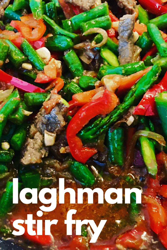 A delicious Central Asian classic, hand pulled noodles with a soupy vegetable beef Stir Fry served with Chinese Black Vinegar. Made from scratch, or substitute noodles and serve with the tasty Stir Fry. Lagman Uyghur Stir Fry (Лагман)