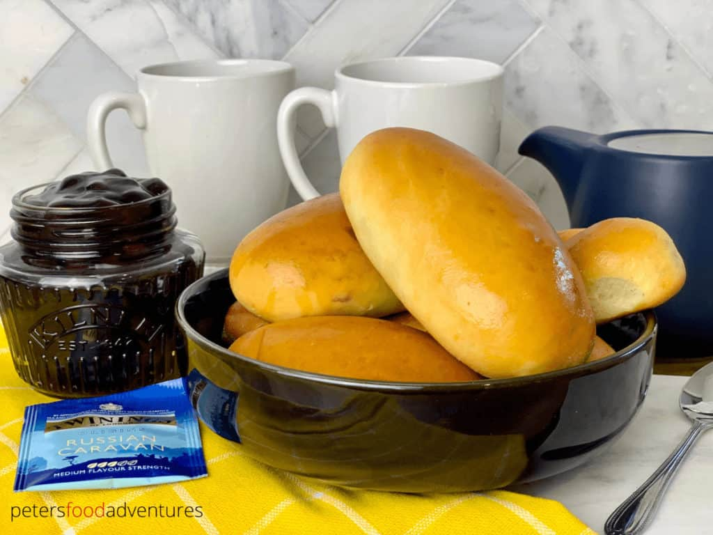 Baked Piroshki Not Fried! A Sweet Dough Russian Hand Pie Filled with Blueberries, made so much quicker with this easy bread maker yeast dough recipe, also with traditional sweet dough video instructions. Easy Baked Blueberry Piroshki (Пирожки в духовке с голубикой)