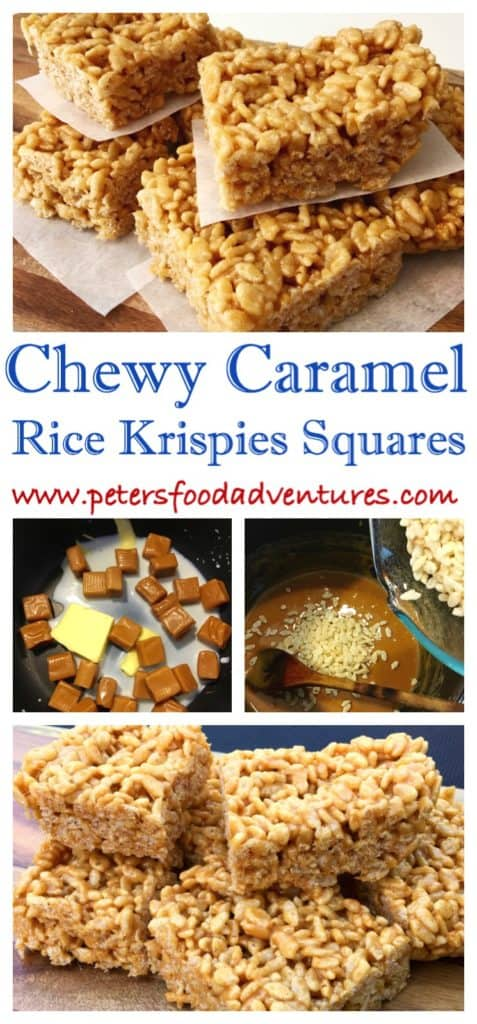 A nostalgic treat from the good old days. A gooey caramel treat, recipe found on the back of an old cereal box! Easy and delicious, just like the original! Caramel Rice Krispies Squares