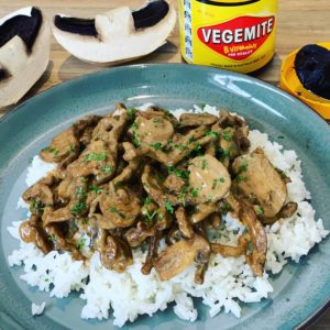 Vegemite Stroganoff made with Aussie Vegemite, made with beef, mushrooms and served over rice. A new Vegemite recipes everyone will love!