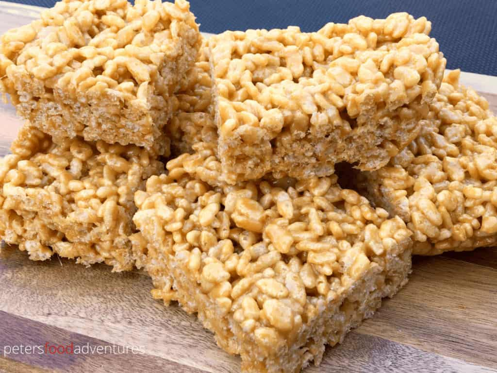 Caramel Rice Krispies is a nostalgic treat from the good old days. A gooey caramel treat, recipe found on the back of an old cereal box! Easy and delicious, just like the original! Caramel Rice Krispies Squares