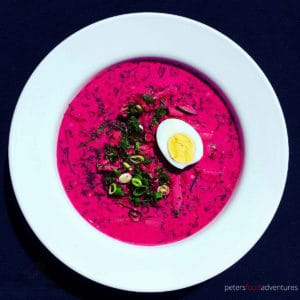 A delicious vegetarian Cold Beet Soup, made from beets, cucumbers, kefir and lots of dill - called Holodnik (холодник). Full of Probiotics. Tasty like Okroshka or Svekolnik, the perfect chilled soup on a hot summer's day.