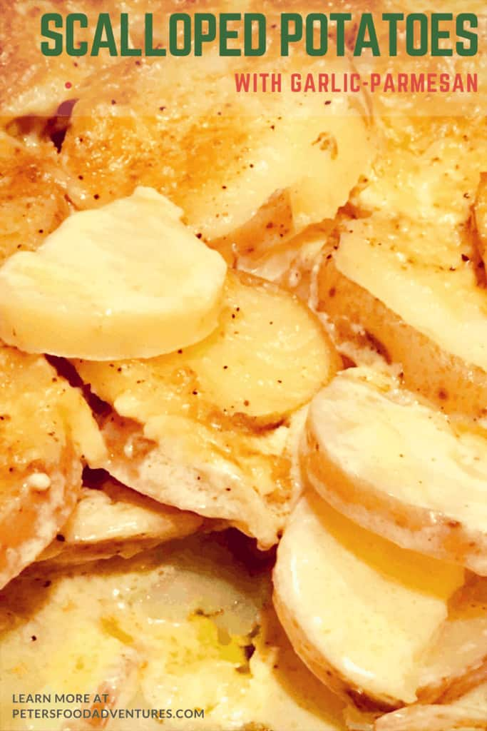 A tasty sidedish that's full of flavor! Creamy Scalloped Potatoes has Parmesan Cheese, whipping cream, garlic, mustard powder, nutmeg and butter. Easy to make, with out a roux, everyone will love this potato bake recipe!