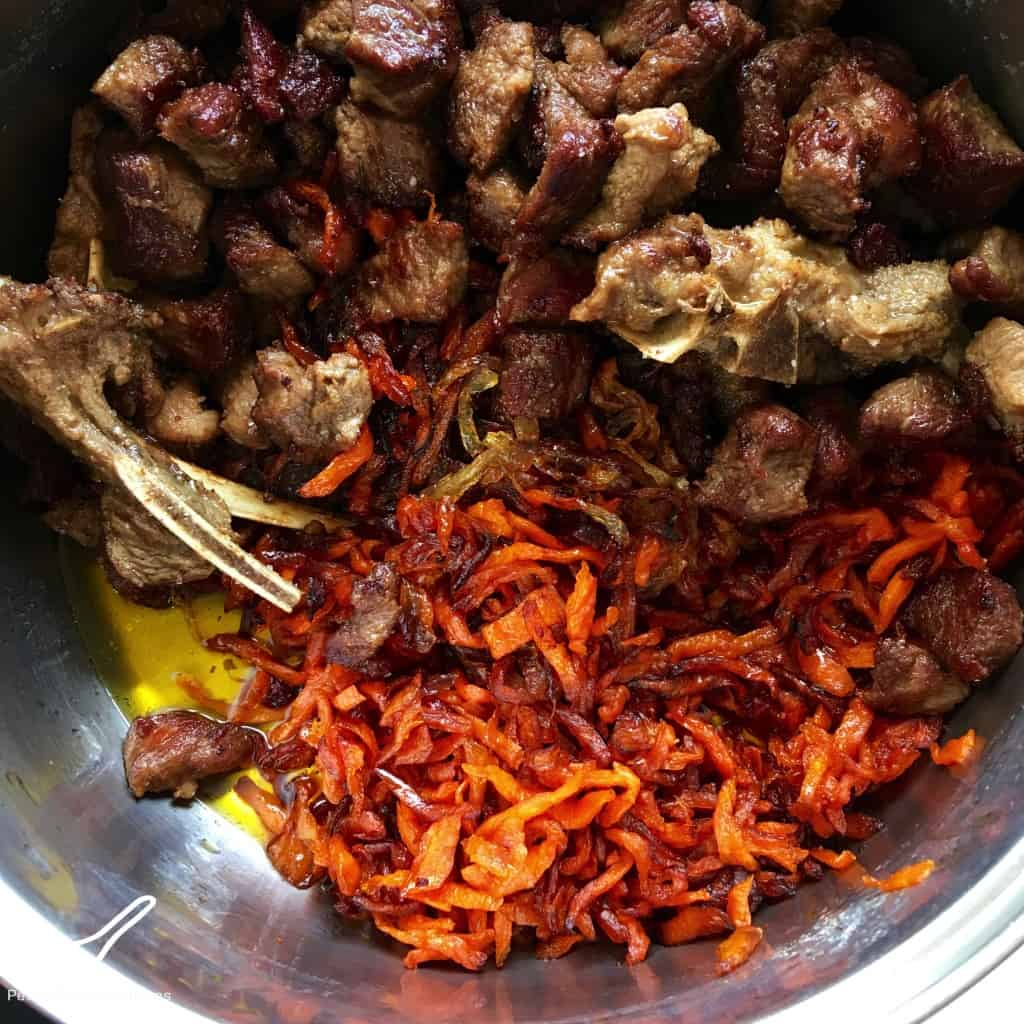 Frying Lamb and Carrots for Palava