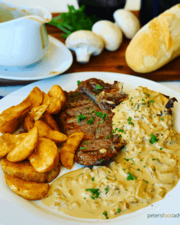 Diane Sauce is a creamy brandy steak sauce or mushroom gravy, with an easy to follow recipe. A classic American flambéed steak sauce, a flavor showstopper. A retro recipe popular in the 1950's.