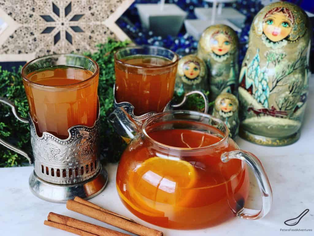 Russian Tea in a teapot and glasses