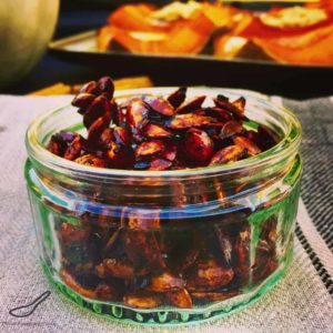 This sweet and spicy pumpkin seed recipe is a delicious snack with amazing health benefits - Sweet Chili Roasted Pumpkin Seeds Recipe