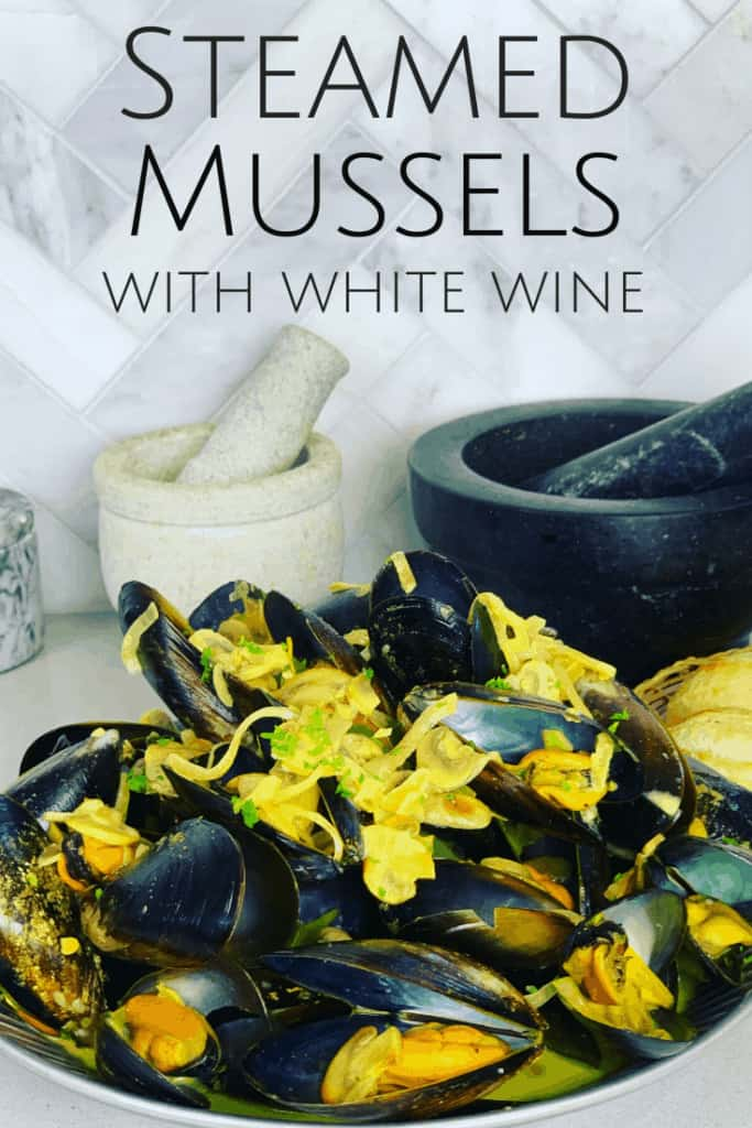 Steamed Mussels with white wine in a serving bowl