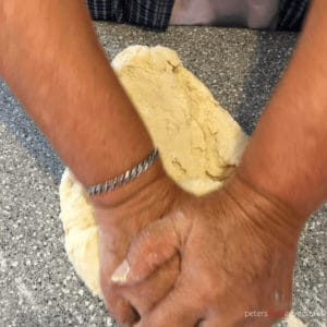 kneading dough for manti by hand