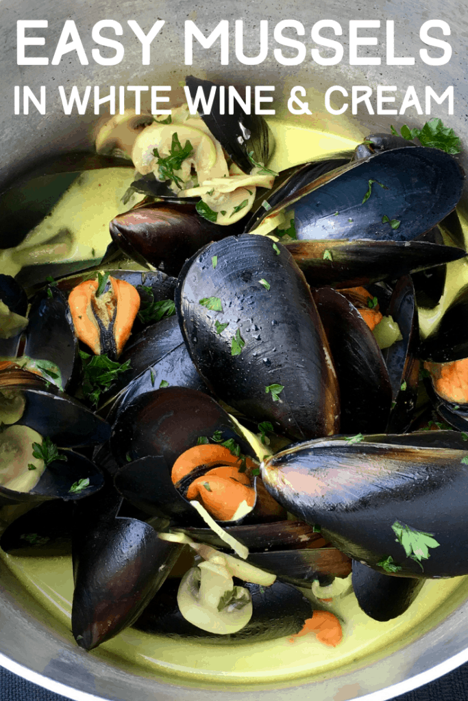 I love this version of French Steamed Mussel steamed in white wine. White, butter, cream, baguette, what's not to love? This is a large mussels recipe that feeds 4 for dinner comfortably, or enjoy it as an appetizer.