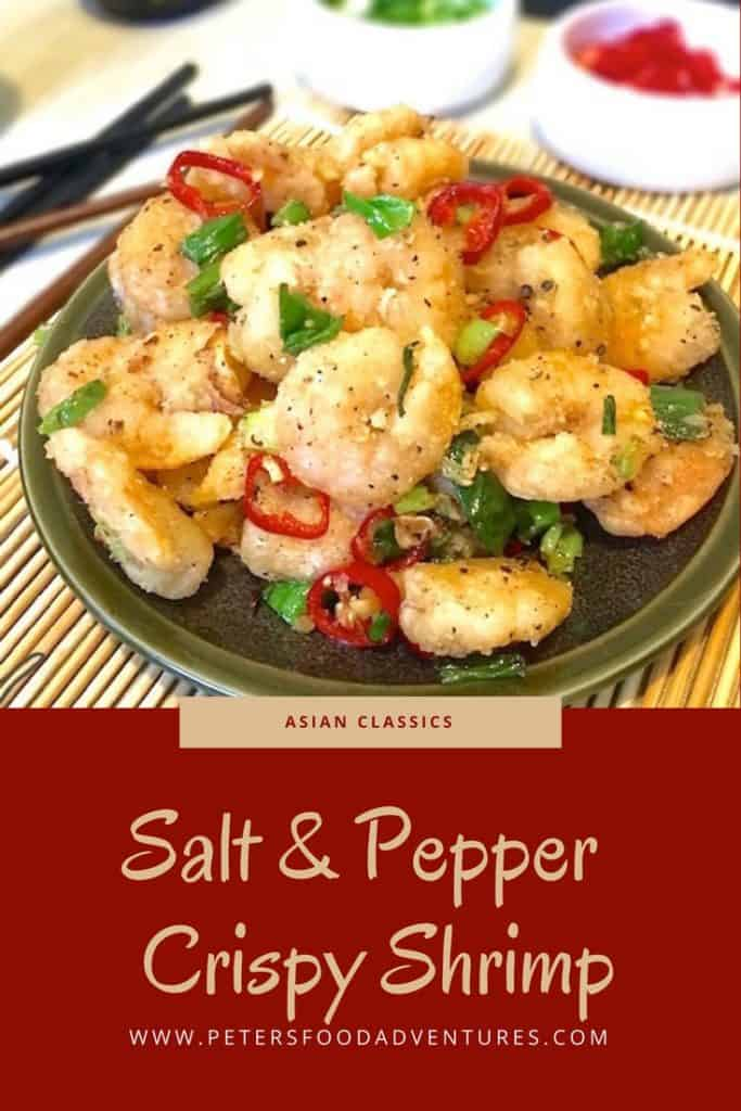 Salt and Pepper Shrimp is a favourite dish found at many western Chinese restaurants. It's quick, crunchy and delicious, a perfect appetizer! Salt and Pepper Shrimp No Shell Recipe