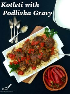 Russian style meatballs with Podlivka or gravy, served with pasta or mashed potato. Comfort Food! - Kotleti with Podliva (Котлеты с подливкой)