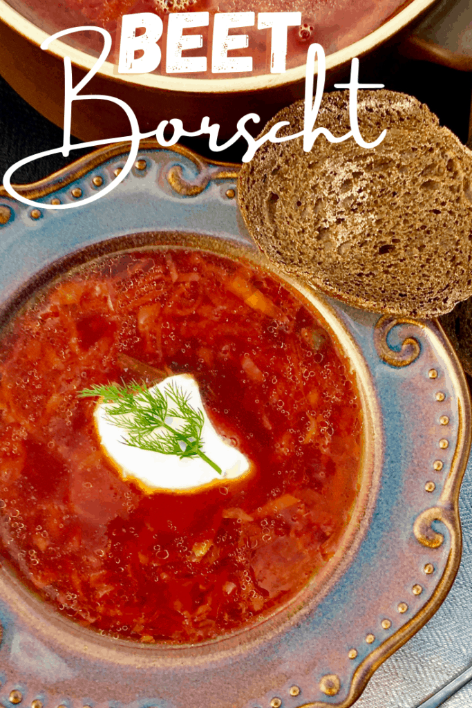 Authentic Beet Borscht with a meaty broth, cabbage, carrots, potatoes and beets. The tastiest beet soup that's easy, delicious and heartwarming. Borsch (Борщ) is so popular, that it was even eaten by Soviet cosmonauts in space.